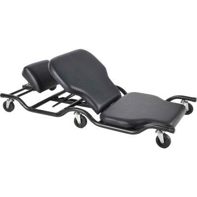 ShopSol Creeper w/Adjustable Backrest and Headrest, 500 lb. Cap, Black Vinyl - 1010484