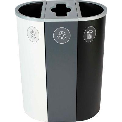 Busch Systems Spectrum Triple - Organics/Recycling/Waste, 26 Gallon - White/Gray/Black - 101203