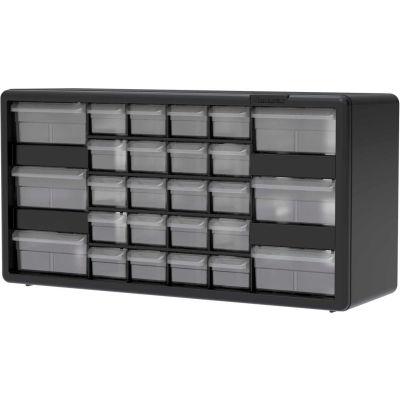 "Akro-Mils Plastic Drawer Parts Cabinet 10126 - 20""W x 6-3/8""D x 10-1/4""H, Black, 26 Drawers"