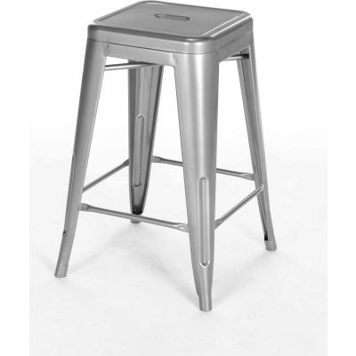 """Interion® 24""""H Steel Barstool - Silver - 4/Pack"""