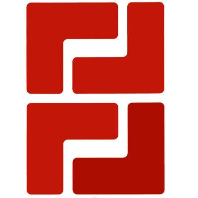 "Brady® 104430 ToughStripe Floor Corner Marks, Polyester, 2""W, 20/Pack, Red"