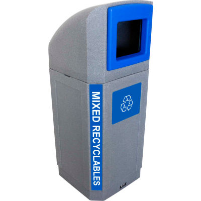 Busch Systems Outdoor Octo Container - Mixed Recyclables, 32 Gallon - Graystone/Blue - 104439