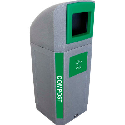 Busch Systems Outdoor Octo Container - Compost, 32 Gallon - Graystone/Green - 104441