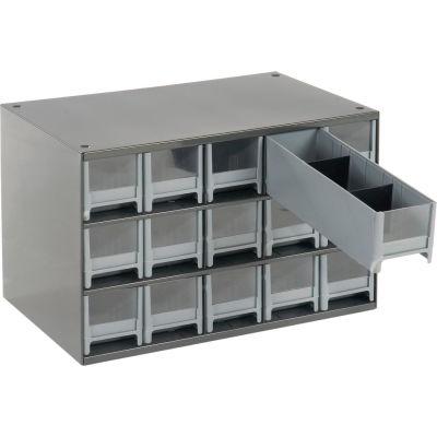 "Akro-Mils Steel Small Parts Storage Cabinet 19715 - 17""W x 11""D x 11""H w/ 15 Gray Drawers"