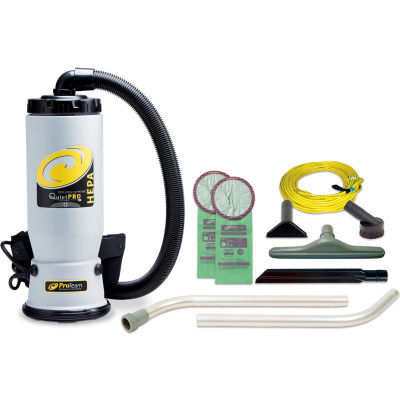 "ProTeam® QuietPro BP HEPA Backpack Vacuum w/14"" Scalloped Floor Tool & Wand Kit"