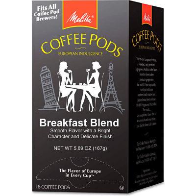 Melitta® Breakfast Blend Coffee Pods, Regular, Light Roast, Arabica Coffee, 0.3 oz.18 Pods/Box