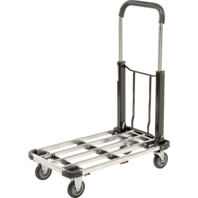 Global Industrial™ Folding Platform Truck with Telescopic Aluminum Deck 300 Lb. Capacity
