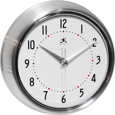 "Infinity Instruments 9.5"" Wall Clock, Silver Metal Retro"