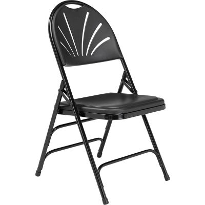 National Public Seating Plastic Folding Chair - Triple Brace - Black - Pkg Qty 4