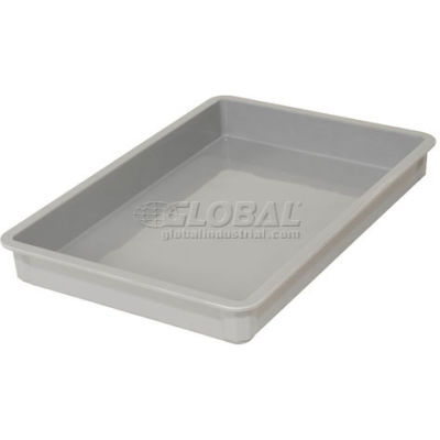 "Molded Fiberglass Toteline Stacking Tote 870008 - 25-3/4""L x 17-3/4""W x 3""H, Gray - Pkg Qty 6"