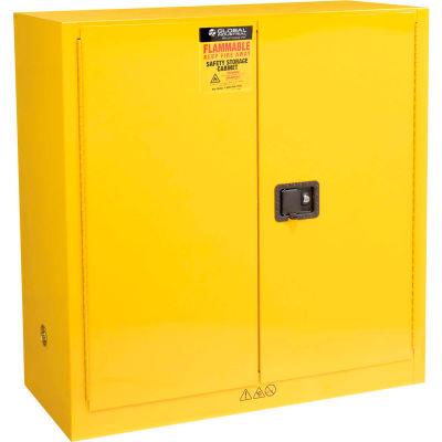 "Global Industrial™ Flammable Liquid Cabinet, 30 Gallon Manual Close Double Door, 43""Wx18""Dx44""H"