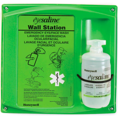 Honeywell Emergency Eye/Face Wash,16 Oz. Single Bottle Station, 32-000460-0000
