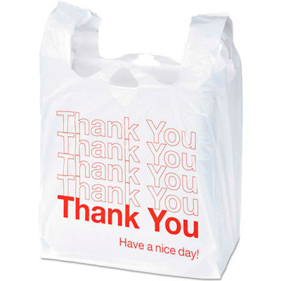 "Thank You Printed Plastic Bags 11-1/2"" x 6"" x 22"" 0.55 Mil 250 Pack"