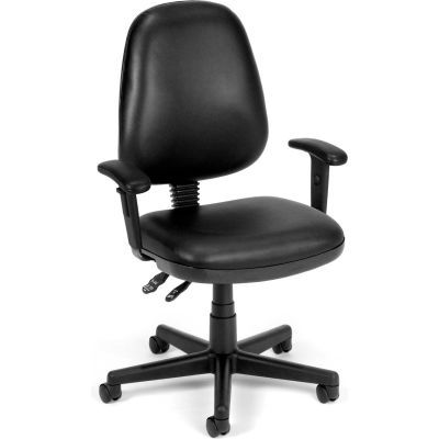 OFM Straton Series Vinyl Task Chair with Arms, Mid Back, in Black (119-VAM-AA-606)