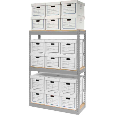 """Global Industrial™ Record Storage Open With Boxes 42""""WX15""""DX60""""H - Gray"""