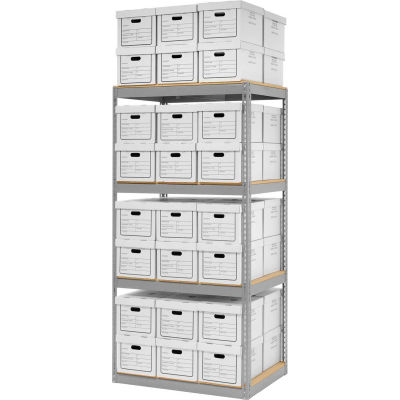 """Global Industrial™ Record Storage Open With Boxes 42""""W x 30""""D x 84""""H - Gray"""