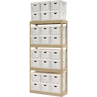 """Record Storage Open With Boxes 42""""W x 15""""D x 84""""H - Tan"""