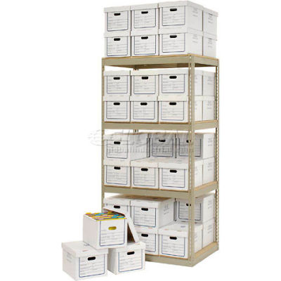 """Global Industrial™ Record Storage Open With Boxes 42""""W x 30""""D x 84""""H - Tan"""