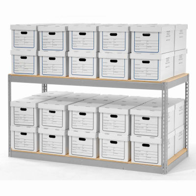 """Global Industrial™ Record Storage With Boxes 72""""W x 30""""D x 36""""H - Gray"""
