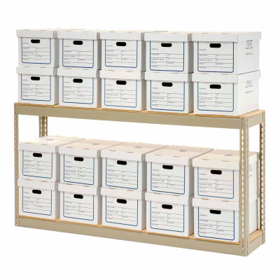 """Record Storage Rack With Boxes 72""""W x 15""""D x 36""""H - Tan"""