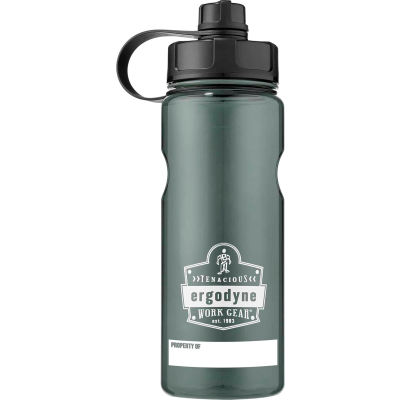Ergodyne Chill-Its® Plastic Wide Mouth Water Bottle, 1 Liter, Gray, 13152