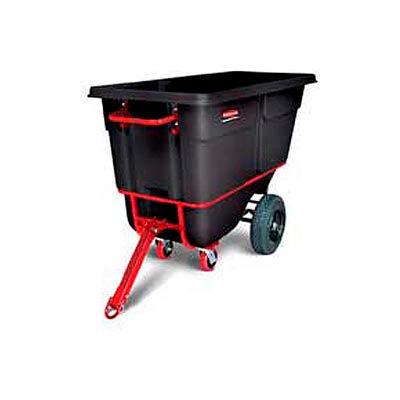 Rubbermaid® Heavy Duty Towable Plastic Tilt Truck, 1 Cu. Yd. Cap, 2100 Lbs. Cap, Black