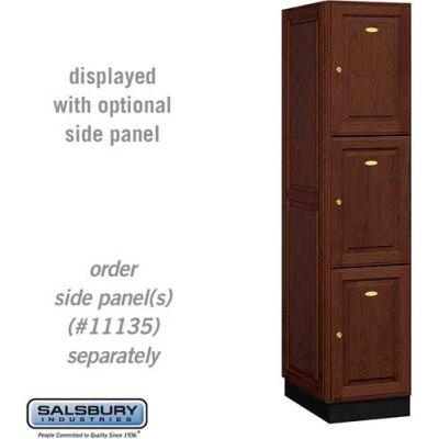 Solid Oak Executive Wood Locker 13161 - Triple Tier 1 Wide, 16x21x24, 3 Door, Dark Oak
