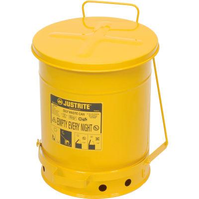 Justrite 10 Gallon Oily Waste Can, Yellow - 09301