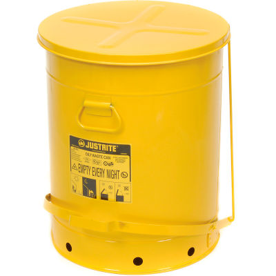 Justrite 21 Gallon Oily Waste Can, Yellow - 09701