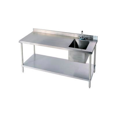 Aero Manufacturing 2TSB3060T-100 14 Ga. Workbench 304 Stainless Steel - Shelf & Center Sink 60 x 30