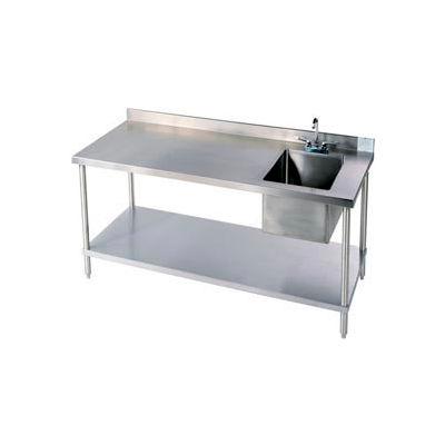 Aero Manufacturing 2TSB-3048T100 14 Ga. Workbench 304 Stainless Steel - Shelf & Center Sink 48 x 30