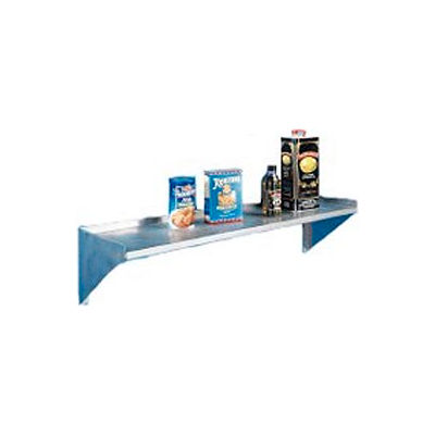 """Aero Manufacturing 4BW-1296 16 Gauge Wall Mount Shelf With One Inch Lip - 430 Stainless Steel - 96""""W"""