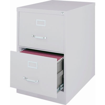 """Hirsh Industries® 25"""" Deep Vertical File Cabinet 2-Drawer Legal Size - Light Gray"""