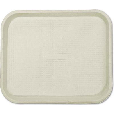"StrongHolder Molded Fiber Food Trays, 9""W x 12""D x 1""H, Beige, Rectangular, 250/Carton"