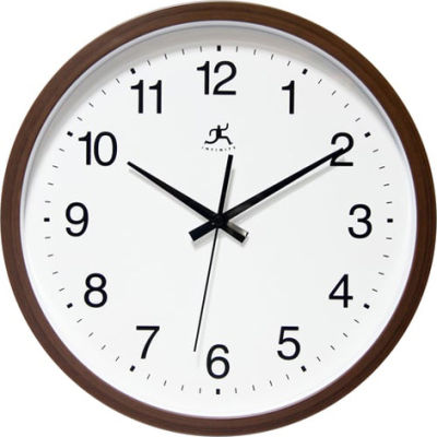 """Infinity Instruments 14"""" Wall Clock, Brown"""