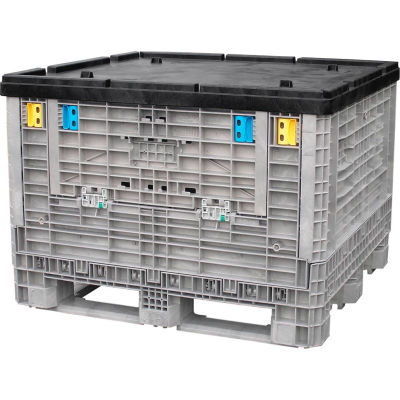 "Monoflo Folding Bulk Shipping Container Lid BC4845LID - 48""L x 45""W Black"