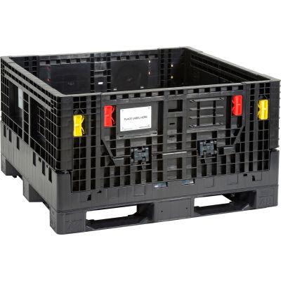 "Monoflo BC4844.5-27 Folding Bulk Shipping Container - 48""L x 45""W x 27""H,  1500 Lb. Capacity Black"