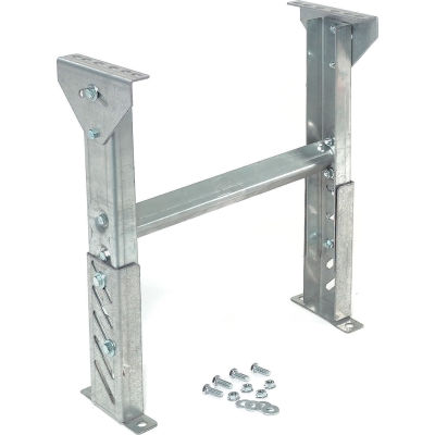"""Omni Metalcraft 1.9"""" Roller Conveyor Leg Support 24""""W I.D. with 22"""" to 28""""H"""