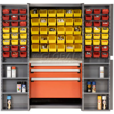 Global Industrial™ Security Work Center & Storage Cabinet - Shelves, 3 Drawers, Yellow/Red Bins