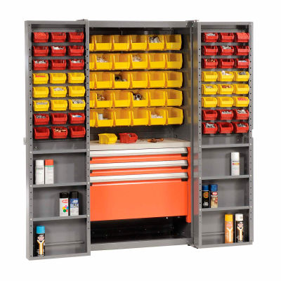 Security Work Center & Storage Cabinet With Shelves, 3 Drawers, Yellow/Red Bins
