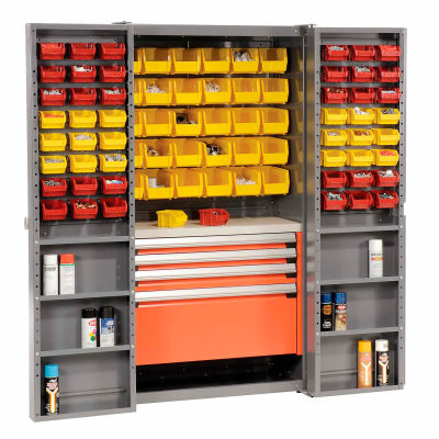 Global Industrial™ Security Work Center & Storage Cabinet - Shelves, 4 Drawers, Yellow/Red Bins