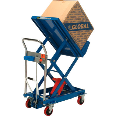 Global Industrial™ Mobile Lift & Tilt Scissor Lift Table 600 Lb. Cap. 36 x 24 Platform