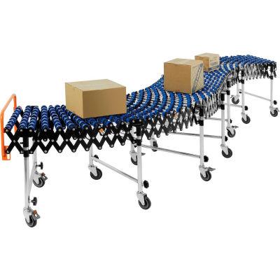 "Global Industrial™ Portable Flexible & Expandable 6'2""-24'8"" Conveyor Nylon Skate Wheels - 24""W"