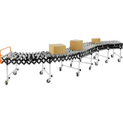 "Global Industrial™ Portable Flexible & Expandable 6'2""-24'8"" Conveyor Steel Skate Wheels - 24""W"