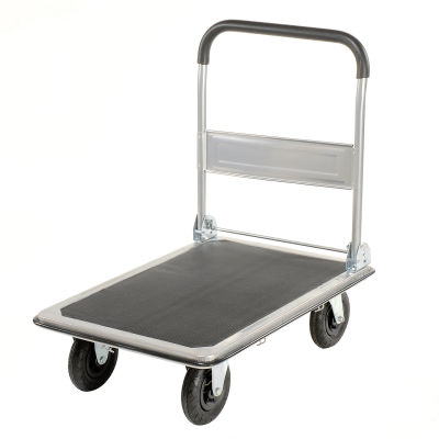 "Global Industrial™ Folding Platform Truck 35x23 Solid Steel Deck - 8"" Pneumatic - 600 Lb. Cap."