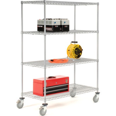 "Nexelate® Wire Shelf Truck With Brakes, 48"" x 24"" x 69"", 1200 Lb. Capacity"