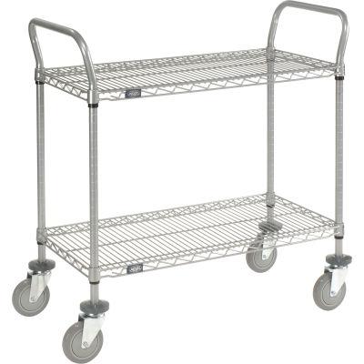 "Nexel® Utility Cart, 2 Shelf, Nexelate® , 36""L x 18""W x 39""H, Polyurethane Casters"