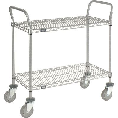 "Nexel® Utility Cart, 2 Shelf, Nexelate® , 42""L x 18""W x 39""H, Polyurethane Casters"