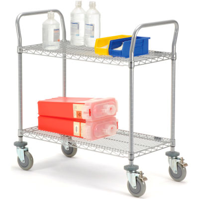 "Nexel® Utility Cart, 2 Shelf, Nexelate® , 42""L x 18""W x 39""H, Polyurethane Brake Casters"
