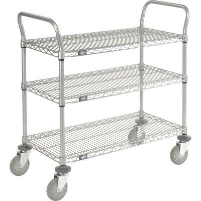 "Nexel® Utility Cart, 3 Shelf, Nexelate® , 42""L x 18""W x 39""H, Polyurethane Casters"